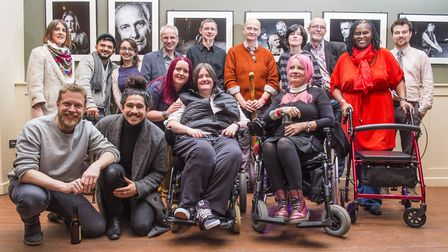 Members from the MS Society pose for a photo at the exhibition's launch event. Picture: Lucy Young.