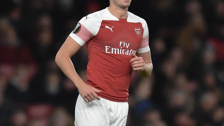 Rob Holding of Arsenal during the Europa League match at the Emirates Stadium. Picture by Martyn Haw