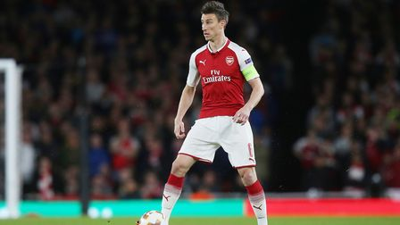 Laurent Koscielny of Arsenal in the UEFA Europa League game between Arsenal v Atlético Madrid at the