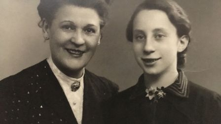 Helga Wolff, aged 15, with her Tante Wally