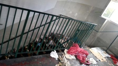 A picture taken of the stairwell at Morrison's Holloway before the supermarket kicked people out