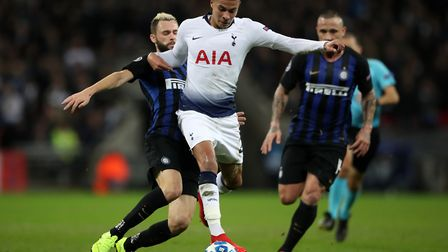 Inter Milan's Marcelo Brozovic and Tottenham Hotspur's Dele Alli battle for the ball during the UEFA