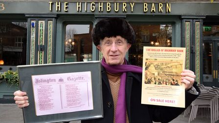 Songwriter Richard O'Brien at Highbury Barn, with a poem that was printed in the Islington Gazette i