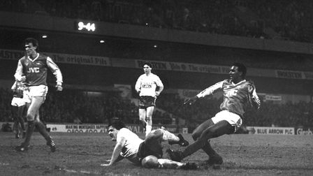 Arsenal's David Rocastle (right) fires in a 90th minute goal to give the Gunners a 2-1 victory durin