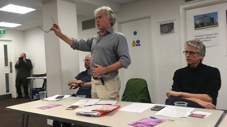 Andy McBain from Islington Homes for All takes a question at the Community Plan for Holloway event.