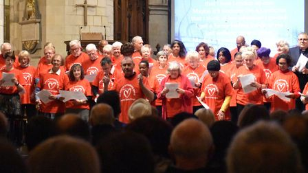 The Memory Cafe Choir sing at Southwark Cathedral. Pic: Francis Henry