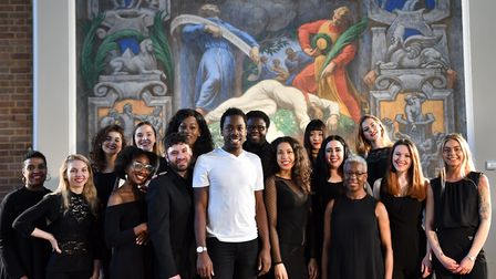 Michael Amadi with the choir backing his cancer awareness song Rise Again