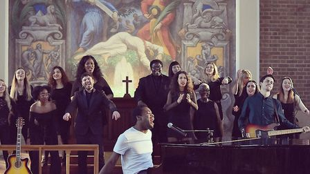 Michael Amadi with the choir backing his cancer awareness video to go with his son Rise Again