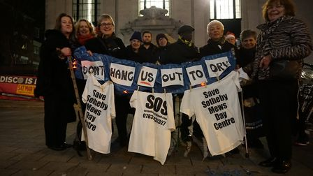 Sotheby Mews Day Centre campaigners on the town hall steps before the petition was handed in to Isli