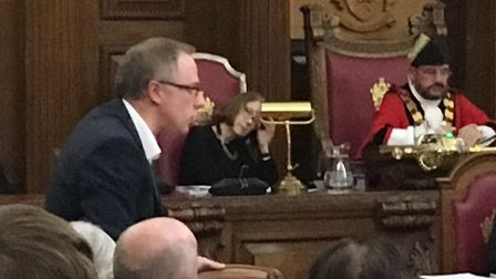 Cllr Richard Watts speaking at the full council meeting last night. Picture: Islington Gazette