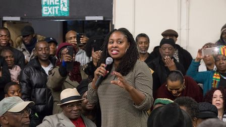 Dawn Butler, MP for Brent Central speaks at the meeting to save Bridge Park Community Centre. Pictur