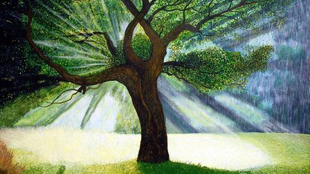 His Tree of Life painting has been nominated for a prize at the Global Art Awards.