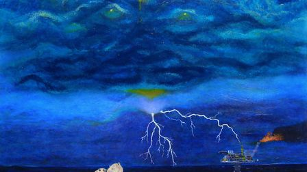 Some paintings, like Floating Truth, offer a political or environmental message.
