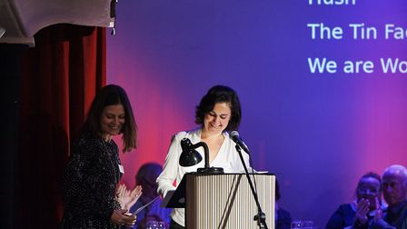 Kate Maxwell (left) with Kamila Shamsie at the Bridport Prize awards ceremony. Picture: Graham Shack