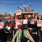 People's Vote campaigners on a people's boat. Photograph: Our Future Our Choice.