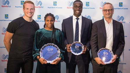 Caroline Dubois is announced as winner of SportsAid's One to Watch award 2018 by Greg Rutherford, wi