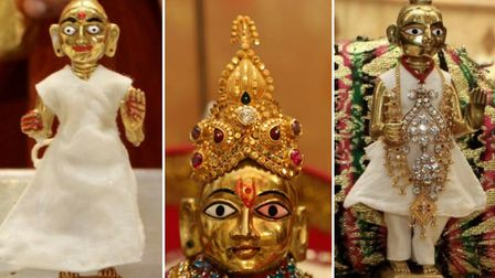 The three small idols that were stolen from the temple.