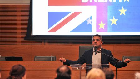 Cllr Muhammed Butt, Brent council leader at the Brexit Time to Talk meeting. Picture: Brent Council