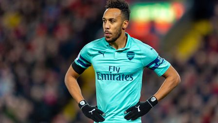 Pierre-Emerick Aubameyang of Arsenal in the Premier League game between Liverpool v Arsenal at Anfie