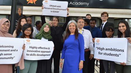 Staff and students at Tech City College celebrate good ofstead. Front centre head Nasrin Farahani