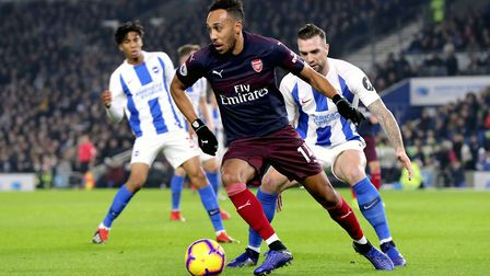 Arsenal's Pierre-Emerick Aubameyang in action during the Premier League match at the AMEX Stadium, B