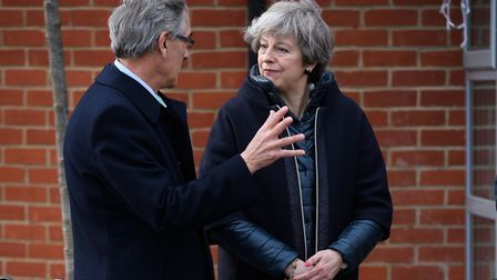 Prime Minister Theresa May talks with Conservative MP John Redwood. Photograph: Leon Neal/PA.
