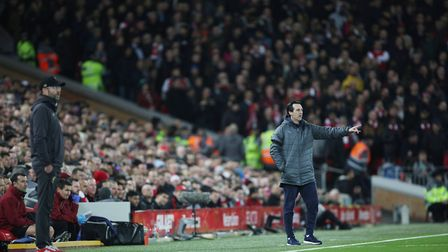 Arsenal manager Unai Emery on the touchline in the Premier League game between Liverpool v Arsenal a
