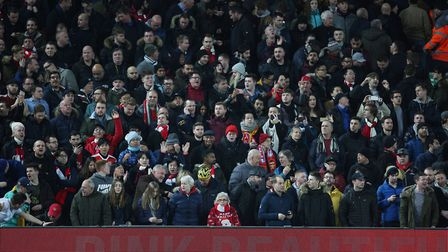 Arsenal fans before the Premier League game between Liverpool v Arsenal at Anfield, Liverpool. Pictu