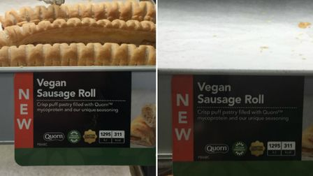 Vegan sausage rolls: still in stock in Highbury (left) but long gone in Dalston (right). Pictures: S