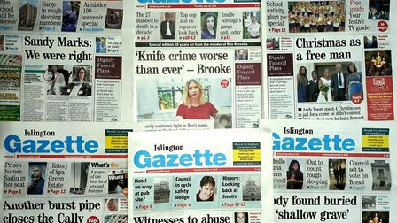 Some of the Islington Gazette's front pages from 2018.