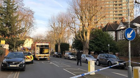 Mapesbury Road is closed off as firecrews deal with a blaze in a third floor flat. Picture: LifeinKi