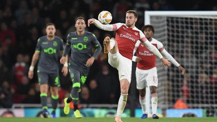 Aaron Ramsey of Arsenal during the Europa League match at the Emirates Stadium. Picture by Martyn Ha