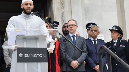 Imam Mohammed Mahmoud speaks at the Islington Town Hall event to mark a year since the Finsbury Park