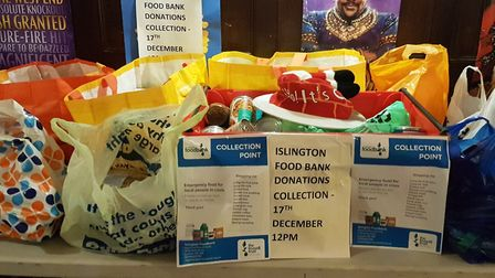 Supplies donated at the Britannia pub for Islington Food Bank. Picture: Cllr Troy Gallagher
