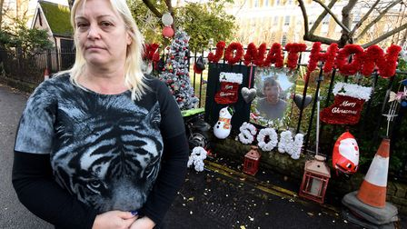 Michelle McPhillips has made a Christmas memorial wall in Milner Square in honour of murdered son Jo