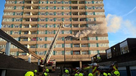 Fire at Windmill Court in Mapesbury Road. Picture: LFB