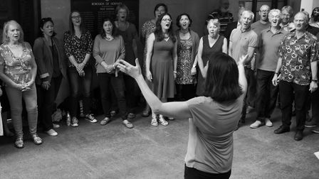 Songworks Community Choir in session earlier this year.