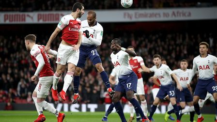Arsenal's Henrikh Mkhitaryan almost scores from a corner during the Carabao Cup Quarter Final match