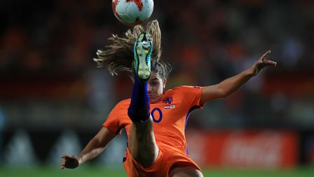 Arsenal star Danielle van de Donk playing for the Netherlands. PA