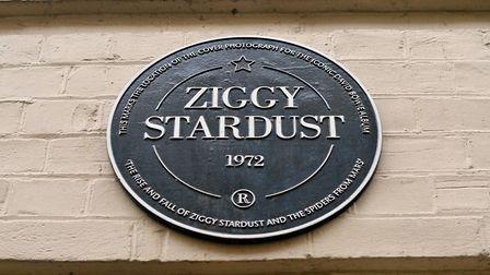 A commemorative plaque to David Bowie's iconic creation, Ziggy Stardust, in Heddon Street, London, w