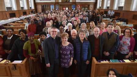 Rev Simon Harvey and Jo Harvey pictured with the congregation at St Mary's Islington after his last