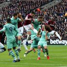 West Ham United's Declan Rice has a headed chance on goal during the Premier League match at London