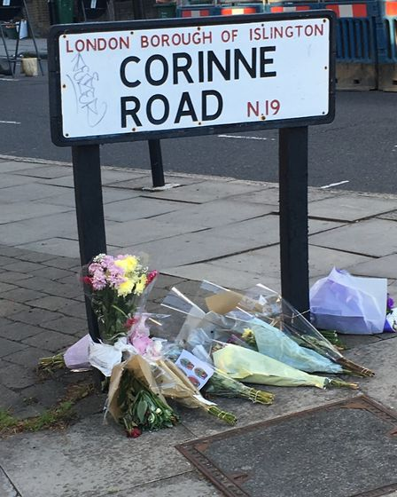 Floral tributes at the scene of Ali Al Har's stabbing in Tufnell Park. Picture: Lucas Cumiskey
