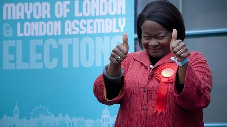 Jennette Arnold celebrates retaining her seat on the London Assembly. Pic: Harry Metcalfe (MUST CRED