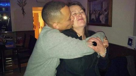 Courtney Wilson hugs his mother Tracey, who tragically died after being hit by a van. Picture: Court