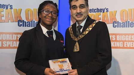 Jack Petchy regional winner Princilla Agyemang with mayor of Brent Cllr Arshad Mahmood. Picture: Ton