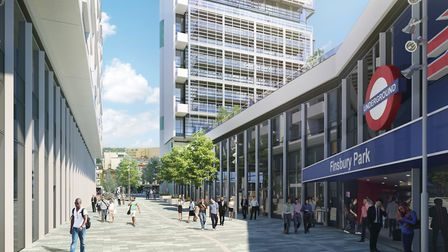 How the new entrance to Finsbury Park station will look. Picture: Telford Homes