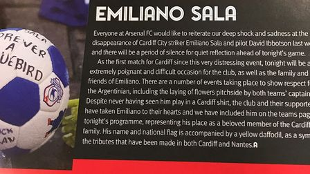 A general view of the matchday programme which includes tributes to missing footballer Emiliano Sala
