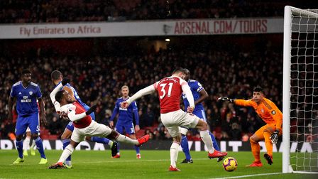 Arsenal's Sead Kolasinac has a chance from close range but misses during the Premier League match at