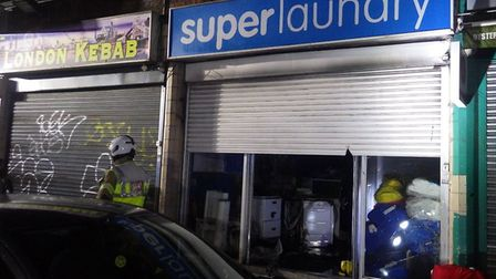 The fire burned for around an hour at a launderette in Islington in the early hours of January 30. P